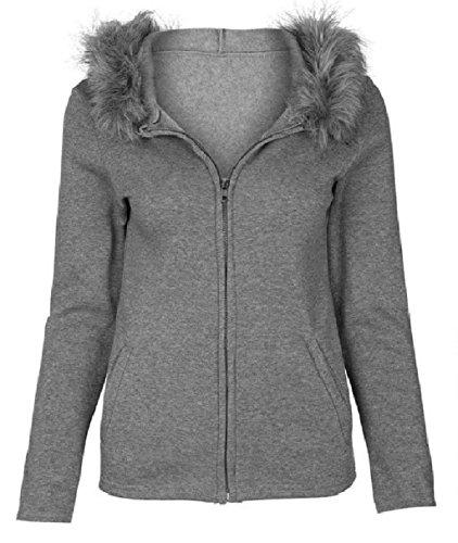 Abetteric Women Hooded Fur Collar Zip Pure Colour Simple Sweatshirts Grey S