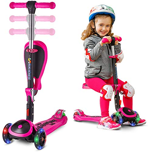 Scooter for Kids with Folding Seat - New 2-in-1 Adjustable 3 Wheel Kick Scooter for Toddlers Girls & Boys - Fun Outdoor Toys for Kids Fitness, Outside Games, Kid Activities - Boy & Girl Toys - Y200 ()