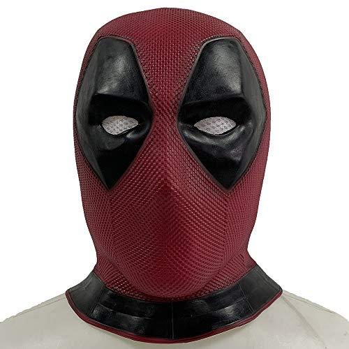 ZhangHD Deadpool Mask Helmet Movie Vesion Latex Full Head DP Mask Cosplay Props Red]()