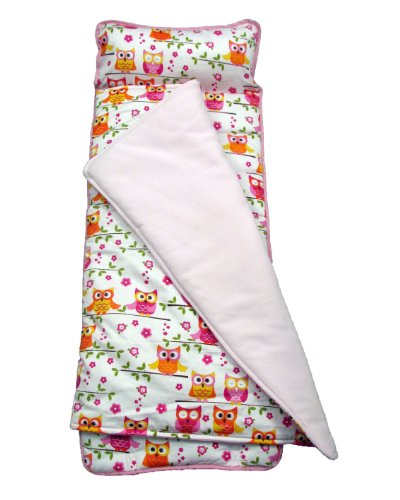 SoHo Pink Owls nap mat for toddler preschool day care with pillow lightweight rolled nap mats by Ellie and Luke
