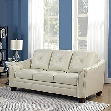 Amazon.com: MAKLAINE - Sofá de piel con tapa, color marfil ...