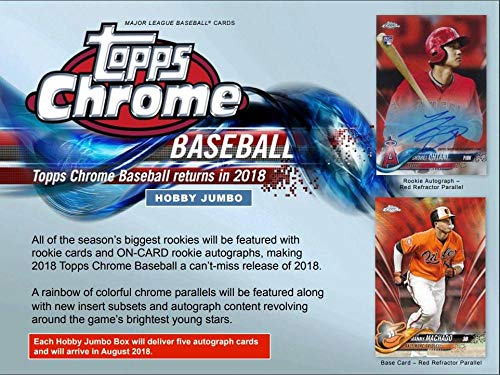 Jumbo Box - 2018 Topps Chrome Baseball Jumbo Box (12 Packs/5 Autographs)