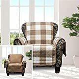MN 1 Piece Taupe Brown Plaid Chair Protector, Hunting Themed Furniture Protection Couch Cabin House Pattern Checked Tartan Pets Animals Covering Soft Lodging Buffalo Checkered Covers, Polyester