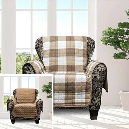 MN 1 Piece Taupe Brown Plaid Chair Protector, Hunting Themed Furniture Protection Couch Cabin House Pattern Checked Tartan Pets Animals Covering Soft Lodging Buffalo Checkered Covers, Polyester by MN