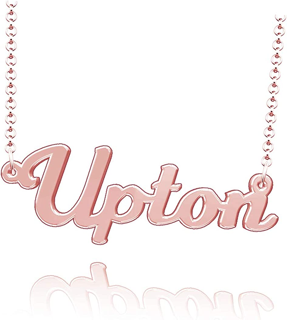 LoEnMe Jewelry Upton Name Necklace Sterling Silver Plated Custom Made of Last Name Personalized Gift for Family