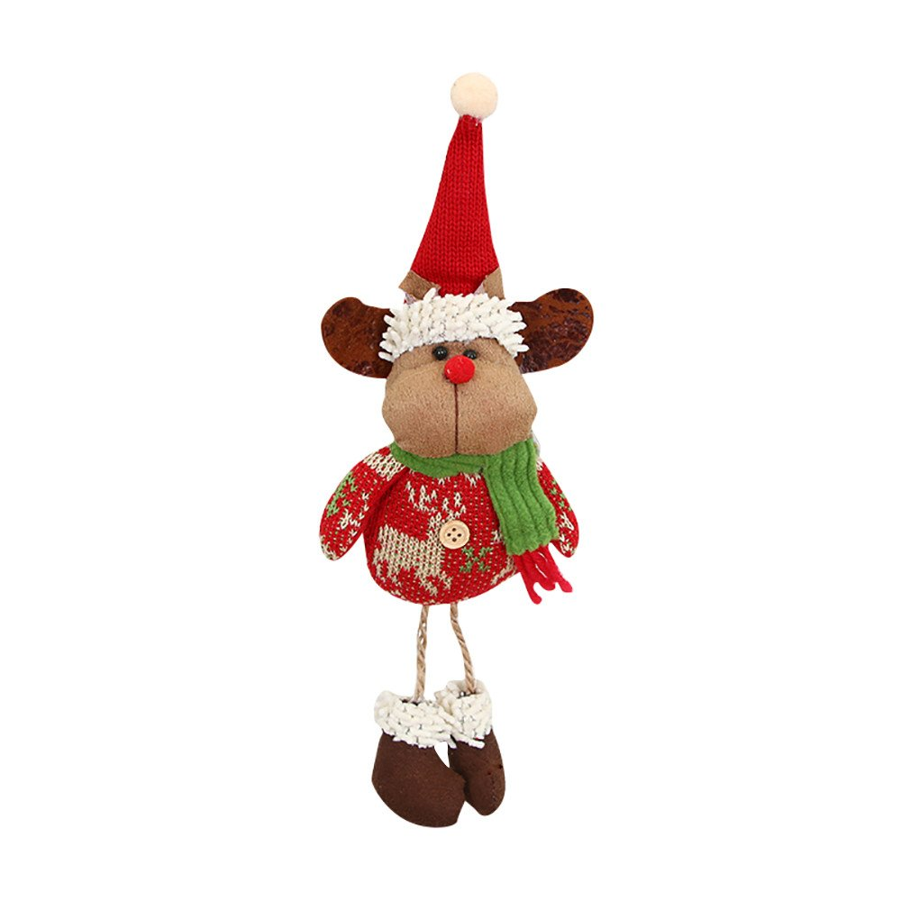 Christmas Tree Snowman Reindeer Toy Doll Hanging Party Home Office Decor Holiday Ornament Supplies (Reindeer)