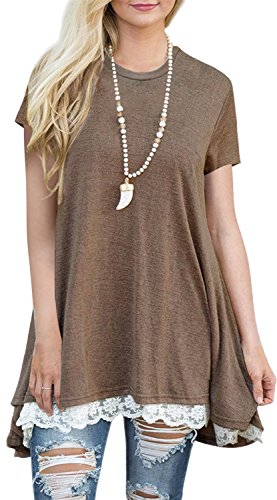 Womens Short Sleeve A-Line Flowy Tunic Tops Lace Trim Shirt Blouse Large Coffee