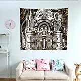 Anshesix Modern Decor Pattern Tapestry Two Cylinder Engine Engineer Motors Cars Lovers Inspired Image Photo Gorgeous Tapestry 47W x 47L InchGrey and Dark Brown