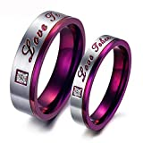 SAINTHERO Love Taken Couple Wedding Bands Classic Purple Stainless Steel with Zircon Stone Rings His and Hers Promise Rings