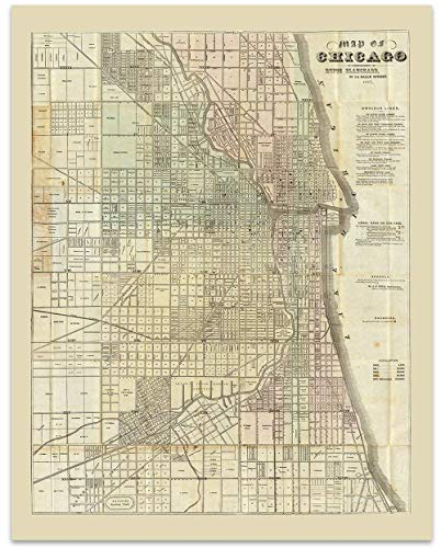 Chicago Map - Chicago Vintage Map Circa 1857-11 x 14 Unframed Print - Great Housewarming Gift. Chicago Themed Office Decor. Great Gift for a Real Estate Agent or Developer. Chicago Bar Decor