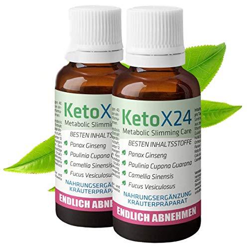 KetoX24 Abnehmtropfen | Die flüssige Abnehmtablette | Pflanzliche Diätpillen in flüssiger Form zur natürlichen Fettverbrennung | 48-Tage Schlankheitskur für gesunde Verdauung und schnelles Abnehmen