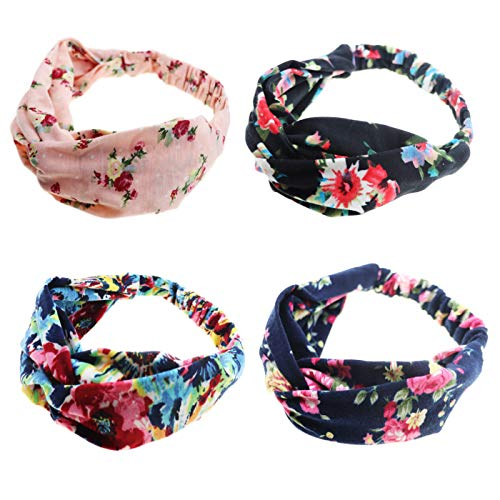 DRESHOW 1950's Vintage Modern Style Elastic Women Turban Headbands Twisted Cute Hair Band Accessories (4 Pack Cross Cloth Printed Elastic) ()