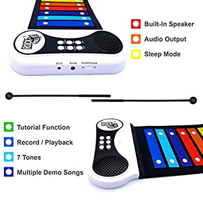 MUKIKIM Rock & Roll It – Rainbow Xylophone. Portable & Flexible Standard Size Electronic Pad with 22 Color Coded Bars & Song Booklet. USB or Battery Powered, Built-in Speaker & Audio Output Support: Unknown: Toys & Games