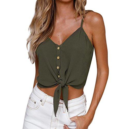 HGWXX7 Women Solid Tie Button Sleeveless Chiffon Vest Shirt Blouse Tank Tops (M, Green)
