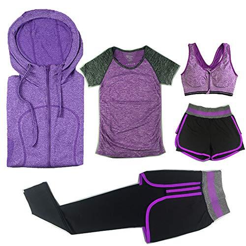 Sport Suit,Caopixx Women Gym Running Workout Yoga Outfit Set 5PCS Tee+Vest+Shorts+Leggings+Coat Purple