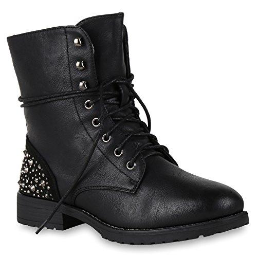 Stiefelparadies Damen Stiefeletten Worker Boots Spitze Stiefel Schuhe Flandell Schwarz Berkley