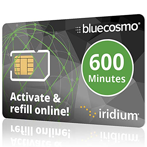 BlueCosmo Iridium 600 Min Prepaid Global SIM Card - Satellite Phone Airtime - 1 Year Expiry - No Activation Fee - No Monthly Fee - Refillable - Rollover - Easy 24/7 Online Activation and Refills