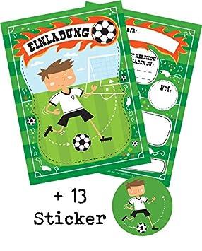 12 Tarjetas De Invitación Fútbol Para Niños Cumpleaños O Wm