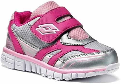Lotto bambini/ragazze scarpe sportive/scarpe casual/sneakers Zenith IV INF S, Taglia 23(UK 6/US 7/cm 14.5), Silver Metal/Flamingo, Argento/Pink, R8607