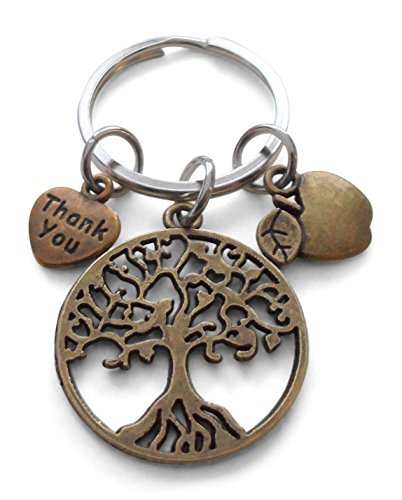 Bronze Tree Keychain Gift, Thank You & Apple Charm - Thanks for Helping Me Grow