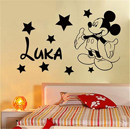Oisiu Mickey Mouse Wall Sticker Decal Creative DIY Cute Mickey Mouse Custom Kids Name Baby Wall Stickers for Kids Rooms Home Decoration -