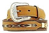 Nocona Boy's Ribbon Overlay Design Belt, Brown, 22