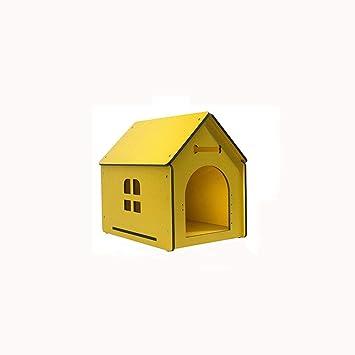 Lijin light Gran Perrera de Madera Maciza de Color Amarillo Grandes Perros medianos y pequeños casa ...