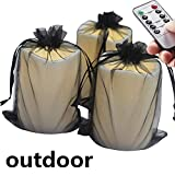 3pcs Outdoor Flameless LED Lighted Pillar Candle with 6pcs Candle Lantern Bags, Remote and Timer, Weather Resistant ,Waterproof - Decorative Outdoor Lanterns - 3 pcs Black Bags and 3 pcs White Bags D
