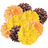 Andaz Press Hanging Tissue Paper Pom Poms Party Decor Trio Kit with Free Party Sign, Yellow, Orange, Brown, 12-Pack, For Thanksgiving Fall Autumn Harvest Classroom Office Decorations