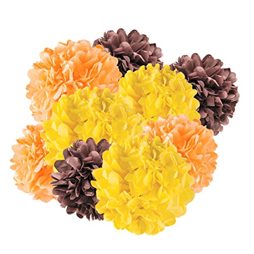 Andaz Press Hanging Tissue Paper Pom Poms Party Decor Trio Kit with Free Party Sign, Yellow, Orange, Brown, 12-Pack, For Thanksgiving Fall Autumn Harvest Classroom Office (Fall Classroom Decorations)