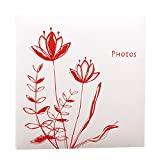 TYJY- Diy Hand-paste Album (lotus Pattern), 20 Sheets (40 Pages) White Pages, Family Couple's Album,Home Storage Placed ( Color : Red )