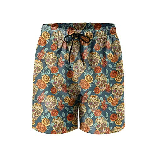 COVASA Cool Colorful Calavera Candy Skull Make up Printed Mens Swimming Trunks Short, -