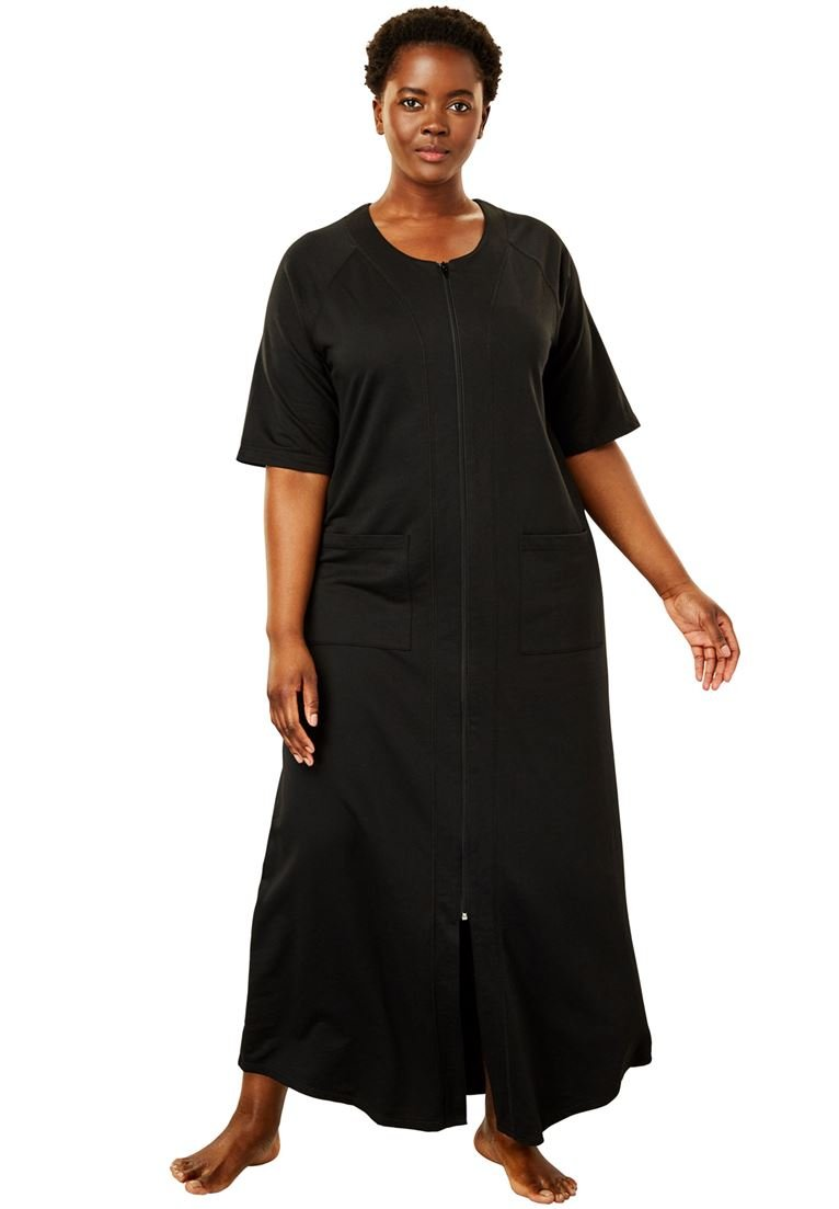 95861a0502e Galleon - Dreams   Co. Women s Plus Size Long French Terry Zip-Front Robe -  Black
