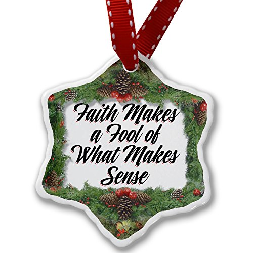 Christmas Ornament Vintage Lettering Faith Makes a Fool of What Makes Sense - Neonblond by NEONBLOND
