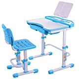 Nidouillet Children's Desk Chair Set Height Adjustable Child Table Chair Set Kids Student Learning Study Work Station Drawer AB002