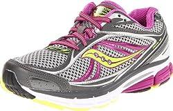 Saucony Women's Omni 12 Running Shoe,Grey/Purple/Citron,5.5 N US