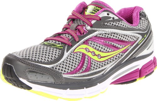 Saucony Women's Omni 12 Running Shoe,Grey/Purple/Citron,7 N US