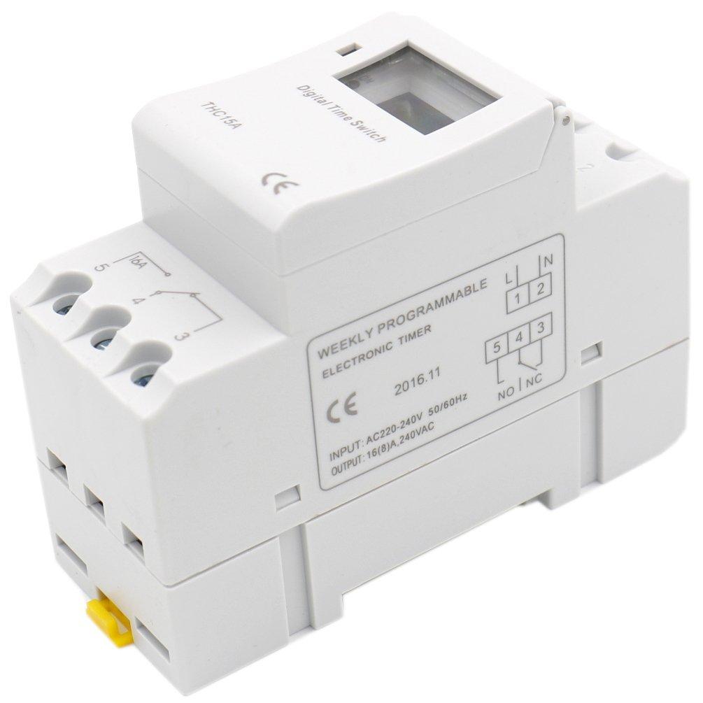 Heschen, interruptor de relé de temporizador semanal de alimentación, Digital, LCD, THC15A, CA 220 a 240 V, 16 A SPST, 35 mm, carril DIN: Amazon.es: Hogar
