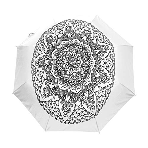 Umbrella Mandala Black White Golf Travel Sun Rain Windproof Auto umbrellas with UV Protection for Girls Boys Kids ()