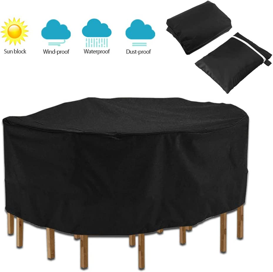 Fanville Round Table Cover Garden Furniture Cover Round Waterproof Garden Table Cover 210D Oxford Fabric Outdoor Dust Cover