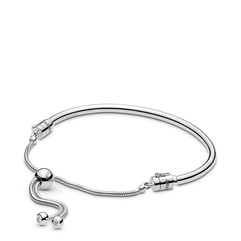 PANDORA Moments Sliding Bangle 925 Sterling Silver Bracelet, Size: 21cm, 8.3 inches - 597953CZ-3 by PANDORA
