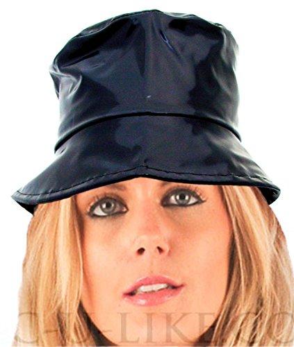 Mesdames 60's Style Chapeau de pluie en PVC Noir brillant 4tailles FR15