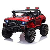 4×4 Off-Road Electric Ride on Car with Remote Control, Real 2 Seaters, 12V 4 Motors, Power Display, Spring Suspension, MP3 Music Player, LED Light - Red