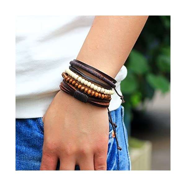New 8Pcs Leather Bracelets Men and Women Wooden Couple Beaded Bracelets Braided Cuff Let You Show the Perfect Match Style