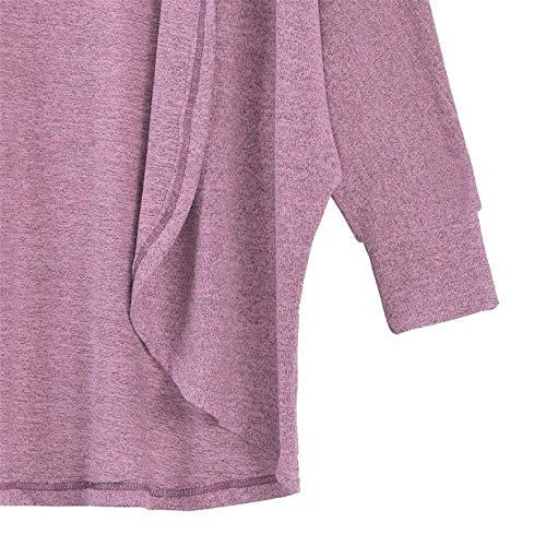 Fashion Elegantes Sólido Color Ropa Primavera Outwear Otoño Casuales Manga Cómodo Chaqueta Cardigan Anchas Irregularmente Mujer Larga Rosa Abrigos Asimetricas qnxv58Aww0