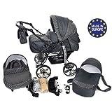 Baby Sportive - Landau pour bébé + Siège Auto - Poussette - Système 3en1, incluant sac à langer et protection pluie et moustique - ROUES NON PIVOTABLES