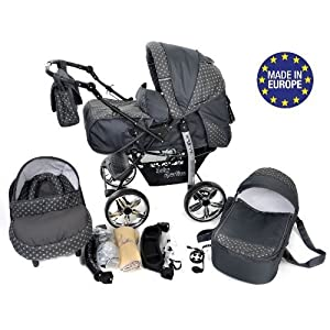 Kamil, Classic 3-in-1 Travel System with 4 Static (Fixed) Wheels incl. Baby Pram, Car Seat, Pushchair & Accessories (3…