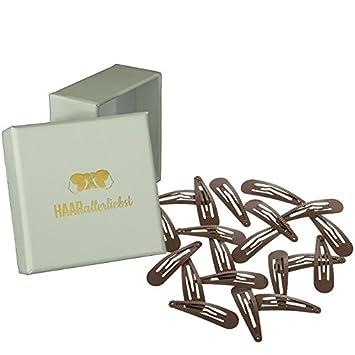 HAARallerliebst Haarspangen geriffelt 20 St/ück | braun | 5cm f/ür mehr Halt inkl Schachtel zur Aufbewahrung Schachtelfarbe: weiss