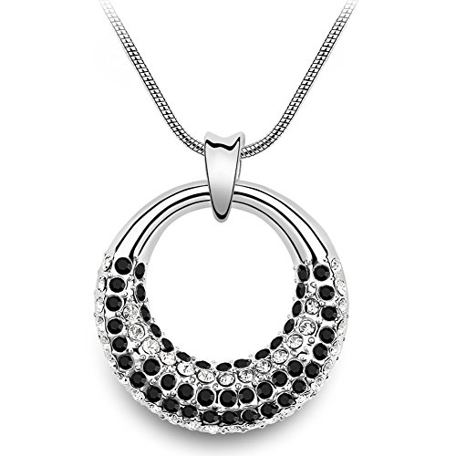 Coach House Jewelry  Women's Beautiful Water Wave Necklace w/Crystal Pendant (Black and Clear Crystals) ()