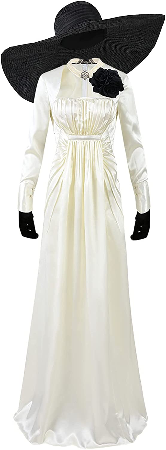Women's Lady Long Super special price Dress Cosplay Robe Costume Black famous White Sk